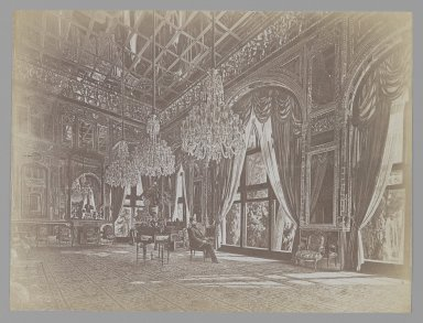 <em>A Photograph of Muhammad Ghaffari's Painting of Mozaffer al-Din Shah Seated in the Mirror Hall (Talar-i A'ina). One of 274 Vintage Photographs</em>, 1896. Albumen silver photograph, 6 1/8 x 8 3/16 in.  (15.6 x 20.8 cm). Brooklyn Museum, Purchase gift of Leona Soudavar in memory of Ahmad Soudavar, 1997.3.258 (Photo: Brooklyn Museum, 1997.3.258_IMLS_PS3.jpg)