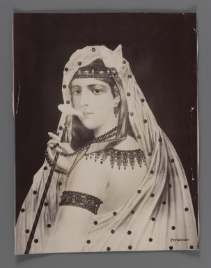 <em>Painting of a Persian Harem Girl/Odalisque,  One of 274 Vintage Photographs</em>, late 19th-early 20th century. Gelatin silver printing out paper, 8 3/4 x 6 3/4 in.  (22.3 x 17.2 cm). Brooklyn Museum, Purchase gift of Leona Soudavar in memory of Ahmad Soudavar, 1997.3.259 (Photo: Brooklyn Museum, 1997.3.259_IMLS_PS3.jpg)
