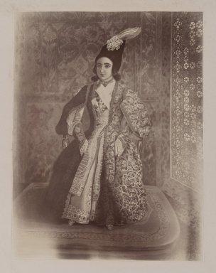 <em>Photogragh of a Water Painting of Nasr-al-Din Shah as a Youth, Tehran, 1846,  One of 274 Vintage Photographs</em>, late 19th-early 20th century. Gelatin silver printing out paper, photo:  8 11/16 x 6 11/16 in.  (22.0 x 17.0 cm);. Brooklyn Museum, Purchase gift of Leona Soudavar in memory of Ahmad Soudavar, 1997.3.266 (Photo: Brooklyn Museum, 1997.3.266_IMLS_PS3.jpg)