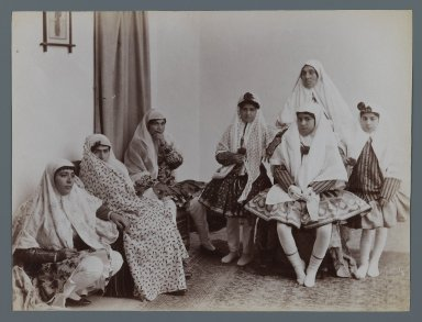 <em>Harem Scene with Mothers and Daughters in Varying Costumes, One of 274 Vintage Photographs</em>, late 19th-early 20th century. Albumen silver photograph, 6 3/16 x 8 3/16 in.  (15.7 x 20.8 cm). Brooklyn Museum, Purchase gift of Leona Soudavar in memory of Ahmad Soudavar, 1997.3.26 (Photo: Brooklyn Museum, 1997.3.26_IMLS_PS3.jpg)