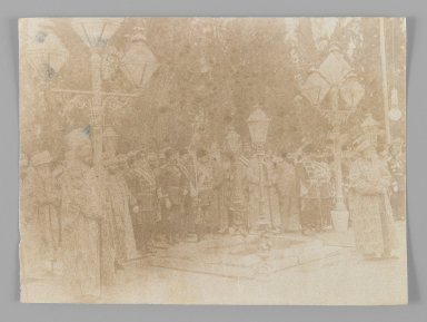 <em>Group Portrait with Mozzaffar al-Din at Old Age,  One of 274 Vintage Photographs</em>, late 19th-early 20th century. Albumen silver photograph, 4 1/16 x 5 1/2 in.  (10.3 x 13.9 cm). Brooklyn Museum, Purchase gift of Leona Soudavar in memory of Ahmad Soudavar, 1997.3.273 (Photo: Brooklyn Museum, 1997.3.273_IMLS_PS3.jpg)