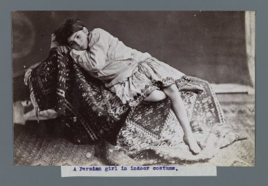 <em>Young Girl Lying Down on Kilim, One of 274 Vintage Photographs</em>, late 19th-early 20th century. Albumen silver photograph, 4 7/8 x 7 5/8 in.  (12.4 x 19.3 cm). Brooklyn Museum, Purchase gift of Leona Soudavar in memory of Ahmad Soudavar, 1997.3.29 (Photo: Brooklyn Museum, 1997.3.29_IMLS_PS3.jpg)