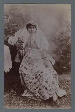 <em>Seated Woman  Crowned with Garland, One of 274 Vintage Photographs</em>, late 19th-early 20th century. Albumen silver photograph, 8 3/16 x 5 3/16 in.  (20.8 x 13.2 cm). Brooklyn Museum, Purchase gift of Leona Soudavar in memory of Ahmad Soudavar, 1997.3.31 (Photo: Brooklyn Museum, 1997.3.31_IMLS_PS3.jpg)