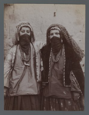 <em>Two Girls in Tribal Costume Entwined, One of 274 Vintage Photographs</em>, late 19th-early 20th century. Albumen silver photograph, 8 3/16 x 6 3/16 in.  (20.77 x 15.7 cm). Brooklyn Museum, Purchase gift of Leona Soudavar in memory of Ahmad Soudavar, 1997.3.32 (Photo: Brooklyn Museum, 1997.3.32_IMLS_PS3.jpg)