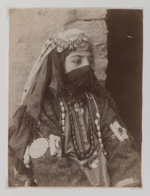 <em>Portrait of Female Member of Shah's Family, One of 274 Vintage Photographs</em>, late 19th-early 20th century. Albumen silver photograph, 8 1/8 x 6 1/8 in.  (20.7 x 15.6 cm). Brooklyn Museum, Purchase gift of Leona Soudavar in memory of Ahmad Soudavar, 1997.3.37 (Photo: Brooklyn Museum, 1997.3.37_IMLS_PS3.jpg)
