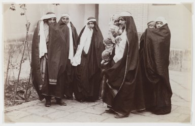 Attributed to Antoin Sevruguin. <em>Group Veiled Women with a Baby</em>, late 19th century. Albumen silver photograph, 5 3/16 x 8 3/16 in.  (13.2 x 20.8 cm). Brooklyn Museum, Purchase gift of Leona Soudavar in memory of Ahmad Soudavar, 1997.3.3 (Photo: Brooklyn Museum, 1997.3.3_IMLS_PS3.jpg)