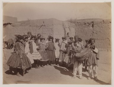 Possibly Antoin Sevruguin. <em>Group of Women in Tribal Costume Dancing</em>, late 19th century. Albumen silver photograph, 6 1/8 x 8 1/8 in.  (15.6 x 20.6 cm). Brooklyn Museum, Purchase gift of Leona Soudavar in memory of Ahmad Soudavar, 1997.3.4 (Photo: Brooklyn Museum, 1997.3.4_IMLS_PS3.jpg)