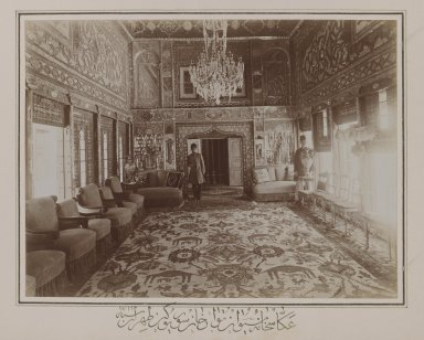 <em>Persian Room in Mooven-el-Dowleh's Old Home,Tehran,  One of 274 Vintage Photographs</em>, 1901. Gelatin silver printing out paper, photo:  6 3/4 x 9 in.  (17.1 x 22.9 cm);. Brooklyn Museum, Purchase gift of Leona Soudavar in memory of Ahmad Soudavar, 1997.3.52 (Photo: Brooklyn Museum, 1997.3.52_IMLS_PS3.jpg)