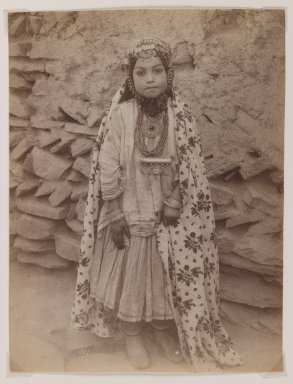 Antoin Sevruguin. <em>Girl Adorned in Silver Jewelry</em>, late 19th century. Albumen silver photograph, 8 1/8 x 6 3/16 in.  (20.6 x 15.7 cm). Brooklyn Museum, Purchase gift of Leona Soudavar in memory of Ahmad Soudavar, 1997.3.5 (Photo: Brooklyn Museum, 1997.3.5_IMLS_PS3.jpg)