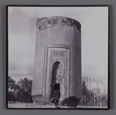 <em>Tomb Tower with Glazed Tilework,  One of 274 Vintage Photographs</em>, late 19th-early 20th century. Silver collodion photograph, 3 1/4 x 3 1/4 in.  (8.3 x 8.2 cm). Brooklyn Museum, Purchase gift of Leona Soudavar in memory of Ahmad Soudavar, 1997.3.60 (Photo: Brooklyn Museum, 1997.3.60_IMLS_PS3.jpg)