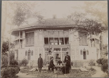 <em>Taking Tea Outside a Palace, One of 274 Vintage Photographs</em>, late 19th-early 20th century. Gelatin silver photograph on printing out paper, 6 1/2 x 9 in.  (16.5 x 22.8 cm). Brooklyn Museum, Purchase gift of Leona Soudavar in memory of Ahmad Soudavar, 1997.3.74 (Photo: Brooklyn Museum, 1997.3.74_IMLS_PS3.jpg)
