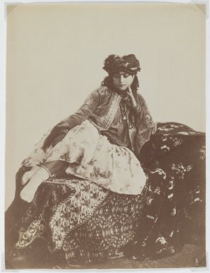 Antoin Sevruguin. <em>Reclining Woman with a Turban</em>, late 19th century. Albumen silver photograph, 8 1/6 x 6 3/16 in.  (20.7 x 15.7 cm). Brooklyn Museum, Purchase gift of Leona Soudavar in memory of Ahmad Soudavar, 1997.3.7 (Photo: Brooklyn Museum, 1997.3.7_IMLS_PS3.jpg)