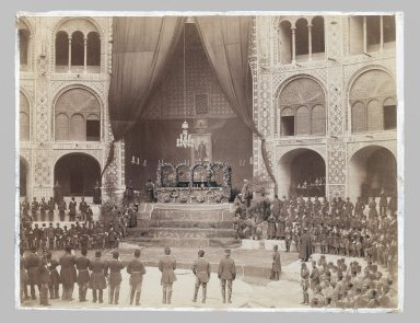 Unknown. <em>The Late Nasir al-Din Shah Lying in State in the Takiah Dawlat, One of 274 Vintage Photographs</em>, 1896. Albumen silver photograph, 8 1/2 x 11 in. (1 ft., 27.9 cm). Brooklyn Museum, Purchase gift of Leona Soudavar in memory of Ahmad Soudavar, 1997.3.80 (Photo: Brooklyn Museum, 1997.3.80_IMLS_PS3.jpg)