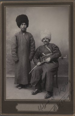 <em>Two Khans in Turkoman Tribal Costume, One of 274 Vintage Photographs</em>, 1912. Silver matte collodion photograph, 6 5/8 x 4 5/16 in.  (16.8 x 11.0 cm). Brooklyn Museum, Purchase gift of Leona Soudavar in memory of Ahmad Soudavar, 1997.3.85 (Photo: Brooklyn Museum, 1997.3.85_IMLS_PS3.jpg)