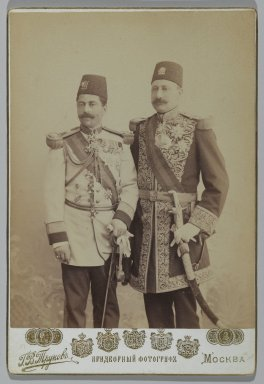 <em>Two Royal Officers in Full Uniform, One of 274 Vintage Photographs</em>, late 19th-early 20th century. Albumen silver photograph, Photo: 5 9/16 x 4 5/16 in.  (14.1 x 11 cm);. Brooklyn Museum, Purchase gift of Leona Soudavar in memory of Ahmad Soudavar, 1997.3.89 (Photo: Brooklyn Museum, 1997.3.89_PS2.jpg)