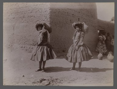 Antoin Sevruguin. <em>Two Women Carrying Clay Jugs Not Wearing Tights, one of 274 Vintage Photographs</em>, late 19th century. Albumen silver photograph, 8 1/6 x 6 3/16 in.  (20.7 x 15.7 cm). Brooklyn Museum, Purchase gift of Leona Soudavar in memory of Ahmad Soudavar, 1997.3.8 (Photo: Brooklyn Museum, 1997.3.8_IMLS_PS3.jpg)
