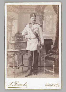 <em>Studio Portrait of a Royal Officer, One of 274 Vintage Photographs</em>, 1899(?). Albumen silver photograph, Photograph: 5 3/8 x 3 7/8 in. (13.7 x 9.8 cm). Brooklyn Museum, Purchase gift of Leona Soudavar in memory of Ahmad Soudavar, 1997.3.90 (Photo: Brooklyn Museum, 1997.3.90_IMLS_PS3.jpg)