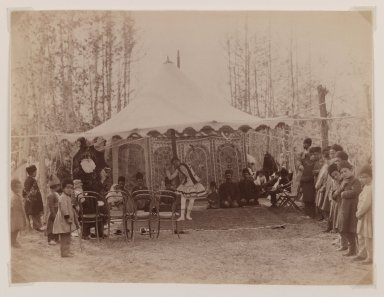 <em>Girl Performing in a Tent</em>, late 19th century. Albumen silver photograph, 6 1/8 x 8 1/8 in.  (15.6 x 20.6 cm). Brooklyn Museum, Purchase gift of Leona Soudavar in memory of Ahmad Soudavar, 1997.3.9 (Photo: Brooklyn Museum, 1997.3.9_IMLS_PS3.jpg)