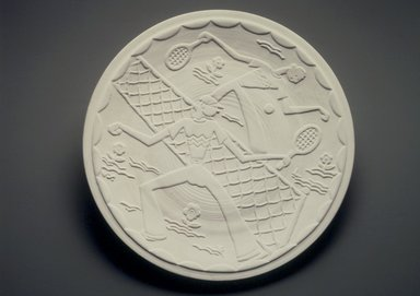 Viktor Schreckengrost (probably) (American, 1906-2008). <em>Plaque</em>, ca. 1930. Earthenware, 1 x 11 7/16 x 11 7/16 in. (2.5 x 29.0 x 29.0). Brooklyn Museum, Gift of Emma and Jay Lewis, 1997.32. Creative Commons-BY (Photo: Brooklyn Museum, 1997.32_transp705.jpg)