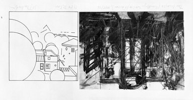 W. Jan Zakrzewski. <em>Two Images, (Brooklyn Interior/Warsaw)</em>, 1995-1996. Photo-transfer, graphite, colored pencil on paper, sheet: 5 13/16 x 12 7/8 in. (14.8 x 32.7 cm). Brooklyn Museum, Emily Winthrop Miles Fund, 1997.42.2. © artist or artist's estate (Photo: Brooklyn Museum, 1997.42.2_bw.jpg)