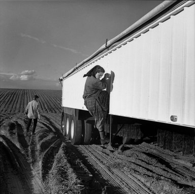 Kristin Capp (American, born 1964). <em>Carol and Eli at Harvest Wash, from The Graven Image Series, Huttertite Work</em>, 1996. Gelatin silver photograph, image: 14 1/8 x 14 in. (35.9 x 35.6 cm). Brooklyn Museum, Gift of the artist, 1997.52.3. © artist or artist's estate (Photo: Brooklyn Museum, 1997.52.3_bw.jpg)
