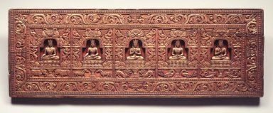 <em>Manuscript Cover with the Five Tathagatas</em>, ca. 1200. Wood, color, gold, 9 5/8 x 27 1/2 x 1 1/8 in. (24.4 x 69.9 x 2.9 cm). Brooklyn Museum, Gift of the Asian Art Council, 1997.59.1. Creative Commons-BY (Photo: Brooklyn Museum, 1997.59.1_transp4572.jpg)
