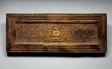 <em>Upper Cover from an Unidentified Manuscript</em>, ca. 14th century. Wood, color, 10 7/8 x 27 1/2 x 1 3/8 in. (27.6 x 69.9 x 3.5 cm). Brooklyn Museum, Gift of the Asian Art Council, 1997.59.3. Creative Commons-BY (Photo: Brooklyn Museum, 1997.59.3_back_SL5.jpg)