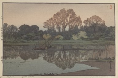 Hiroshi Yoshida (Japanese, 1876-1950). <em>Yoshikawa</em>. Woodblock print on paper, image: 9 11/16 x 12 13/16 in. Brooklyn Museum, Gift of Mrs. William R. Liberman, 1997.60.4. © artist or artist's estate (Photo: Brooklyn Museum, 1997.60.4_IMLS_PS3.jpg)