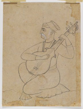 <em>Musician Kneeling with a Sitar</em>, ca. 1710. Ink on paper with white details, 7 7/16 x 5 5/8 in. (18.9 x 14.3 cm). Brooklyn Museum, Gift of Doris Wiener, 1997.62 (Photo: Brooklyn Museum, 1997.62_IMLS_PS4.jpg)