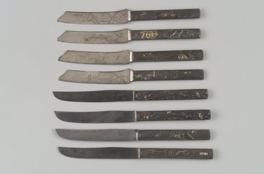 Gorham Manufacturing Company (1865-1961). <em>Fruit Knife, One of Set of Six</em>, ca. 1880. Silver, bronze, gilding, 3/16 x 7 3/4 x 7/8 in. (0.5 x 19.7 x 2.2 cm). Brooklyn Museum, H. Randolph Lever Fund, 1997.66.4. Creative Commons-BY (Photo: Brooklyn Museum, 1997.66.10-13_1997.66.2_1997.66.4_1997.66.5_1997.66.6.jpg)