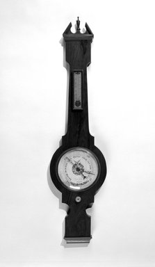 J. Gall. <em>Barometer</em>, ca. 1835. Rosewood veneer, other woods, metal, printed paper and glass, 2 3/4 x 10 3/4 x 3 1/8 in. (108.55 x 27.3 x 7.9 cm). Brooklyn Museum, Gift of Wunsch Foundation, Inc., 1997.73. Creative Commons-BY (Photo: Brooklyn Museum, 1997.73_bw.jpg)