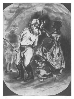 Kara Walker (American, born 1969). <em>Untitled (John Brown)</em>, 1997. Etching on paper, sheet: 18 x 15 in. (45.7 x 38.1 cm). Brooklyn Museum, Emily Winthrop Miles Fund, 1997.80.3. © artist or artist's estate (Photo: Brooklyn Museum, 1997.80.3_bw.jpg)
