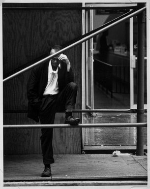 Nathaniel Burkins (American, born 1953). <em>Monroe Street, Chicago</em>, ca. 1979. Gelatin silver photograph, image: 13 1/2 x 10 3/4 in. (34.4 x 27.3 cm). Brooklyn Museum, Purchased with funds given by Ardian Gill, 1997.88. © artist or artist's estate (Photo: Brooklyn Museum, 1997.88_bw.jpg)