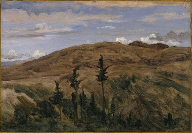 Jean-Baptiste-Camille Corot (French, 1796-1875). <em>Mountains in Auvergne (Montagnes d'Auvergne)</em>, 1841-1842. Oil on paper mounted on linen, 11 1/4 x 16 1/4 in. (28.6 x 41.3 cm). Brooklyn Museum, Purchased with funds given by Karen B. Cohen, Mary Smith Dorward Fund, Gift of A. Augustus Healy and Annie H. Halsted, by exchange, 1997.8 (Photo: Brooklyn Museum, 1997.8_SL1.jpg)
