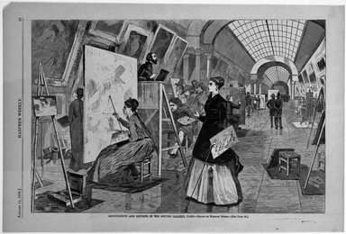 Winslow Homer (American, 1836-1910). <em>Art-Students and Copyists in the Louvre Gallery, Paris</em>, 1868. Wood engraving, Sheet: 9 3/16 x 13 7/8 in. (23.3 x 35.2 cm). Brooklyn Museum, Gift of Harvey Isbitts, 1998.105.102 (Photo: Brooklyn Museum, 1998.105.102_bw.jpg)