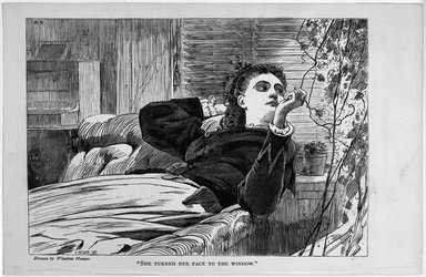 """Winslow Homer (American, 1836-1910). <em>""""She Turned Her Face to the Window,""""</em> 1868. Wood engraving, Image: 4 7/8 x 7 in. (12.4 x 17.8 cm). Brooklyn Museum, Gift of Harvey Isbitts, 1998.105.107 (Photo: Brooklyn Museum, 1998.105.107_bw.jpg)"""