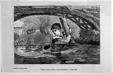 "Winslow Homer (American, 1836-1910). <em>""Orrin, Make Haste, I Am Perishing!,""</em> 1868. Wood engraving, Image: 4 3/4 x 7 in. (12.1 x 17.8 cm). Brooklyn Museum, Gift of Harvey Isbitts, 1998.105.115 (Photo: Brooklyn Museum, 1998.105.115_bw.jpg)"