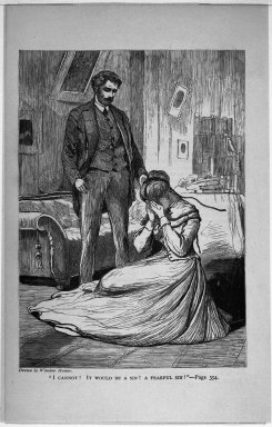 "Winslow Homer (American, 1836-1910). <em>""I Cannot! It Would Be A Sin! A Fearful Sin!,""</em> 1868. Wood engraving, Image: 7 x 5 in. (17.8 x 12.7 cm). Brooklyn Museum, Gift of Harvey Isbitts, 1998.105.117 (Photo: Brooklyn Museum, 1998.105.117_bw.jpg)"