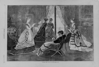 Winslow Homer (American, 1836-1910). <em>Waiting for Calls on New-Year's Day</em>, 1869. Wood engraving, Image: 9 1/8 x 12 in. (23.2 x 30.5 cm). Brooklyn Museum, Gift of Harvey Isbitts, 1998.105.122 (Photo: Brooklyn Museum, 1998.105.122_bw.jpg)