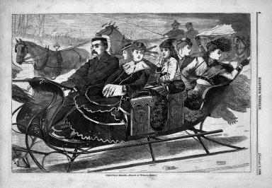 Winslow Homer (American, 1836-1910). <em>Christmas Belles</em>, 1869. Wood engraving, Sheet: 9 3/16 x 13 7/8 in. (23.3 x 35.2 cm). Brooklyn Museum, Gift of Harvey Isbitts, 1998.105.123 (Photo: Brooklyn Museum, 1998.105.123_bw.jpg)