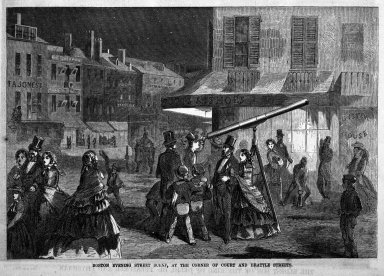Winslow Homer (American, 1836-1910). <em>Boston Evening Street Scene, at the Corner of Court and Brattle Streets</em>, 1857. Wood engraving, Image: 6 1/2 x 9 1/2 in. (16.5 x 24.1 cm). Brooklyn Museum, Gift of Harvey Isbitts, 1998.105.12 (Photo: Brooklyn Museum, 1998.105.12_bw.jpg)