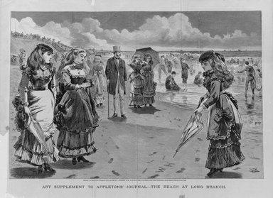 Winslow Homer (American, 1836-1910). <em>The Beach at Long Branch</em>, 1869. Wood engraving, Image: 13 x 19 1/16 in. (33 x 48.4 cm). Brooklyn Museum, Gift of Harvey Isbitts, 1998.105.134 (Photo: Brooklyn Museum, 1998.105.134_bw.jpg)