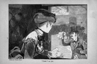 "Winslow Homer (American, 1836-1910). <em>""Come!,""</em> 1869. Wood engraving, Image: 4 7/8 x 6 7/8 in. (12.4 x 17.5 cm). Brooklyn Museum, Gift of Harvey Isbitts, 1998.105.135 (Photo: Brooklyn Museum, 1998.105.135_bw.jpg)"