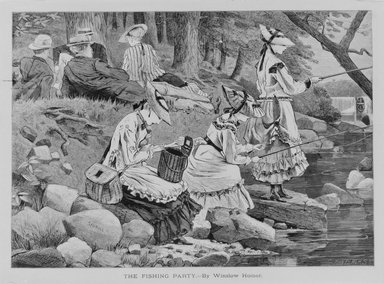 Winslow Homer (American, 1836-1910). <em>The Fishing Party</em>, 1869. Wood engraving, Sheet: 9 x 12 3/4 in. (22.9 x 32.4 cm). Brooklyn Museum, Gift of Harvey Isbitts, 1998.105.138 (Photo: Brooklyn Museum, 1998.105.138_bw.jpg)