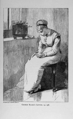 Winslow Homer (American, 1836-1910). <em>George Blake's Letter</em>, 1870. Wood engraving, Sheet: 9 x 5 5/8 in. (22.9 x 14.3 cm). Brooklyn Museum, Gift of Harvey Isbitts, 1998.105.142 (Photo: Brooklyn Museum, 1998.105.142_bw.jpg)