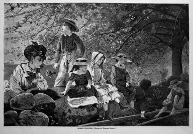Winslow Homer (American, 1836-1910). <em>Spring Blossoms</em>, 1870. Wood engraving, Image: 9 1/4 x 13 7/8 in. (23.5 x 35.2 cm). Brooklyn Museum, Gift of Harvey Isbitts, 1998.105.149 (Photo: Brooklyn Museum, 1998.105.149_bw.jpg)