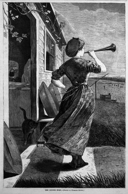 Winslow Homer (American, 1836-1910). <em>The Dinner Horn</em>, 1870. Wood engraving, Image: 13 7/8 x 9 1/8 in. (35.2 x 23.2 cm). Brooklyn Museum, Gift of Harvey Isbitts, 1998.105.150 (Photo: Brooklyn Museum, 1998.105.150_bw.jpg)