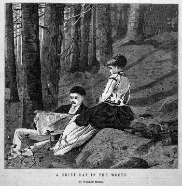 Winslow Homer (American, 1836-1910). <em>A Quiet Day in the Woods</em>, 1870. Wood engraving, Image: 6 1/4 x 6 1/2 in. (15.9 x 16.5 cm). Brooklyn Museum, Gift of Harvey Isbitts, 1998.105.151 (Photo: Brooklyn Museum, 1998.105.151_bw.jpg)