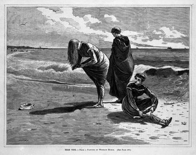 Winslow Homer (American, 1836-1910). <em>High Tide</em>, 1870. Wood engraving, Image: 9 1/4 x 12 1/8 in. (23.5 x 30.8 cm). Brooklyn Museum, Gift of Harvey Isbitts, 1998.105.152 (Photo: Brooklyn Museum, 1998.105.152_bw.jpg)