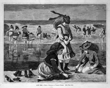 Winslow Homer (American, 1836-1910). <em>Low Tide</em>, 1870. Wood engraving, Image: 9 1/4 x 12 1/8 in. (23.5 x 30.8 cm). Brooklyn Museum, Gift of Harvey Isbitts, 1998.105.153 (Photo: Brooklyn Museum, 1998.105.153_bw.jpg)
